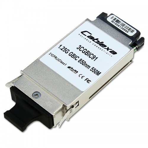 3Com Compatible 3CGBIC91, 1000BASE-SX 850nm Multi-mode 550m GBIC Transceiver Module