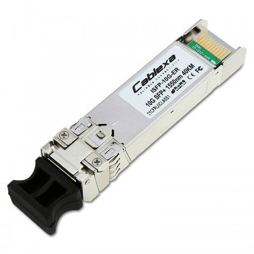 Alcatel-Lucent ISFP-10G-ER, 10 Gigabit industrial optical transceiver (SFP+). Supports monomode fiber over 1550nm wavelength (nominal) with an LC connector. Typical reach of 40Km