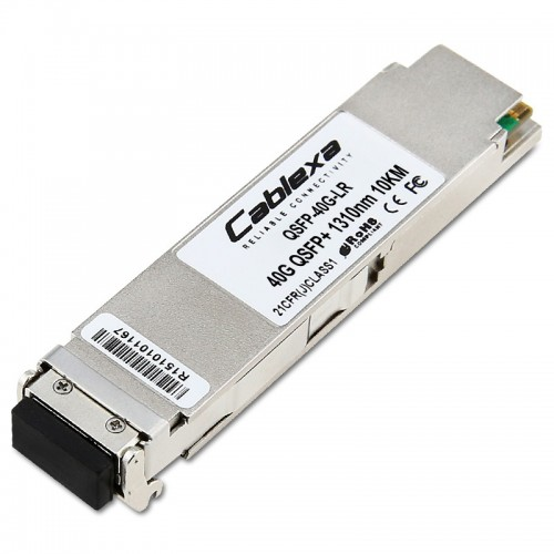 Alcatel-Lucent QSFP-40G-LR, Four channel 40 Gigabit optical transceiver (QSFP+). Supports single mode fiber over 1310nm wavelength. Typical reach 10 km