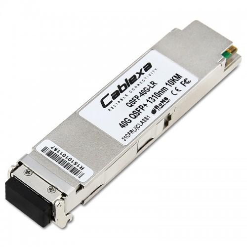 Alcatel-Lucent QSFP-40G-LR, Four channel 40 Gigabit optical transceiver (QSFP+). Supports single mode fiber over 1310nm wavelength. Typical reach 10 km