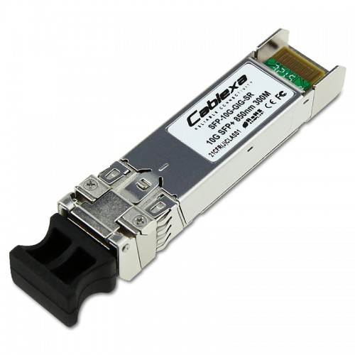 Alcatel-Lucent SFP-10G-GIG-SR, Dual-speed SFP+ optical transceiver. Supports multimode fiber over 850nm wavelength (nominal) with an LC connector. Supports 1000BaseSX and 10GBASE-SR