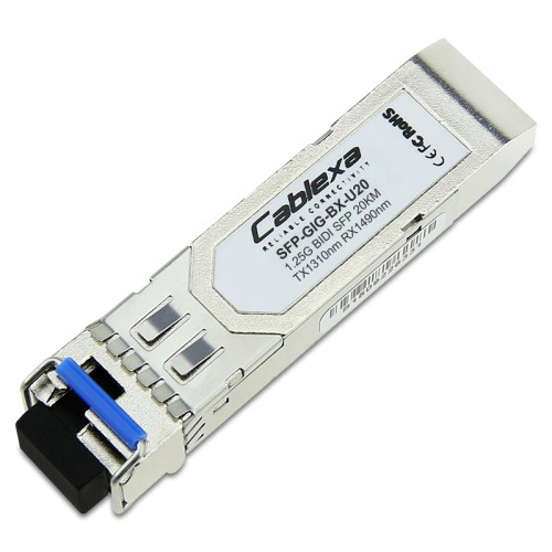 Alcatel-Lucent SFP-GIG-BX-U20, 1000Base-BX SFP transceiver with an LC type of interface, TX-1310nm RX-1490nm 20km