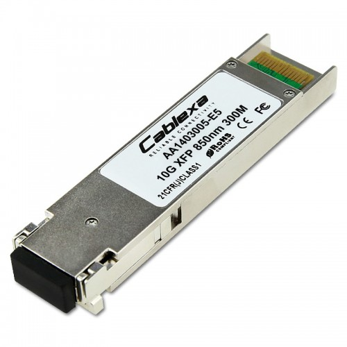 Avaya Compatible AA1403005-E5, 1-port 10GBase-SR XFP. Supports high modal bandwidth MMF (i.e. 50um, 2000MHz*km) for interconnects up to 300m. Core 62.5um fiber also supported.