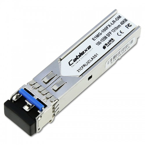 Brocade Compatible 100BASEFX-LR SFP optic for SMF with LC connector, optical monitoring capable. For distances up to 40 km