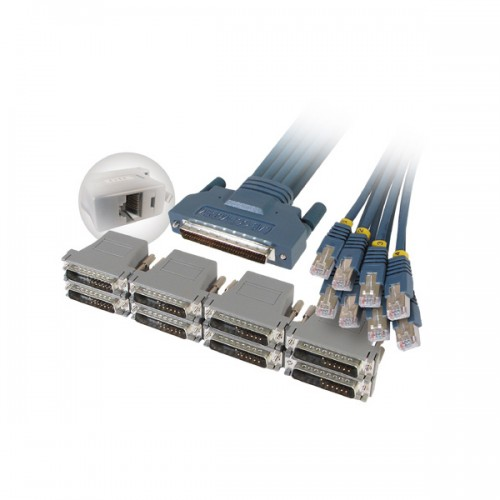 Cisco Compatible CAB-OCTAL-FDTE, CAB-OCTAL-ASYNC Cable and 8 RJ45 to DB25 Female FDTE Adapters