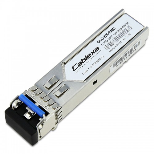Cisco Compatible GLC-EX-SMD 1000BASE-EX SFP transceiver module for SMF, 1310-nm wavelength, 40km, extended operating temperature range and DOM support, dual LC/PC connector