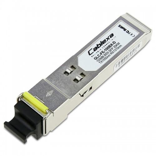 Cisco Compatible GLC-FE-100BX-D 100BASE-BX20-D SFP module for 100-MB ports, 1550 nm TX /1310 nm RX wavelength, 20 km over single-strand SMF