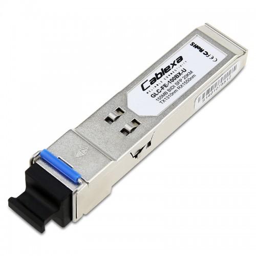Cisco Compatible GLC-FE-100BX-U 100BASE-BX20-U SFP module for 100-MB ports, 1310 nm TX/1550 nm RX wavelength, 20 km over single-strand SMF