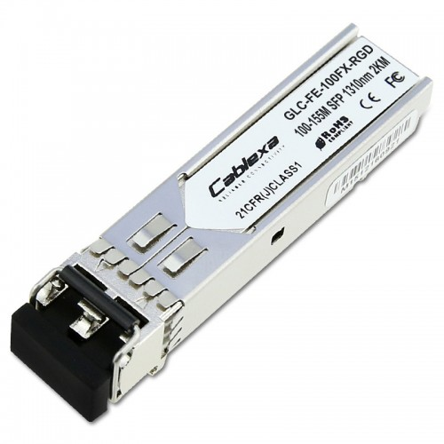 Cisco Compatible GLC-FE-100FX-RGD 100BASE-FX SFP module for Industrial Ethernet 100-MB ports, 1310 nm wavelength, 2 km over MMF