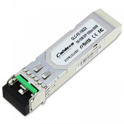 Cisco Compatible GLC-FE-100ZX 100BASE-ZX SFP module for 100-MB ports, 1550 nm wavelength, 80 km over SMF