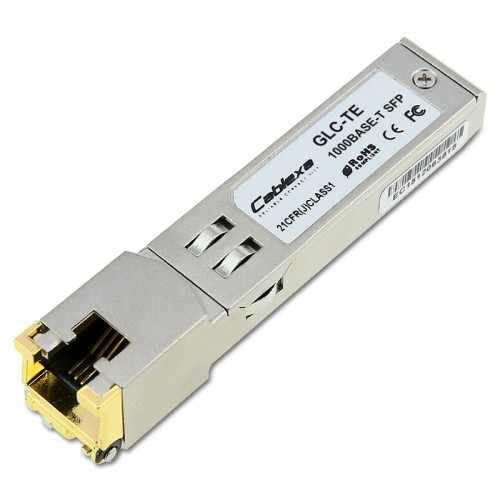 Cisco Compatible GLC-TE 1000BASE-T SFP transceiver module for Category 5 copper wire, 100m, extended operating temperature range, RJ-45 connector