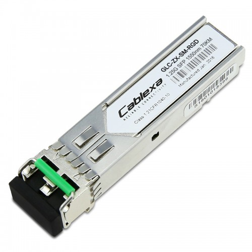 Cisco Compatible GLC-ZX-SM-RGD 1000BASE-ZX SFP transceiver module for SMF, 1550-nm wavelength, 70km, industrial Ethernet, dual LC/PC connector