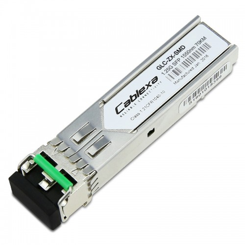Cisco Compatible GLC-ZX-SMD 1000BASE-ZX SFP transceiver module for SMF, 1550-nm wavelength, extended operating temperature range.