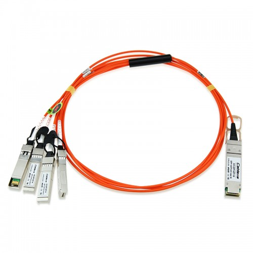 Cisco Compatible QSFP-4X10G-AOC20M 40GBase-AOC QSFP to 4 SFP+ Active Optical breakout Cable, 20-meter
