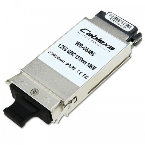 Cisco Compatible WS-G5486 1000BASE-LX/LH GBIC transceiver module for MMF and SMF, 1300-nm wavelength, 10km, dual SC/PC connector
