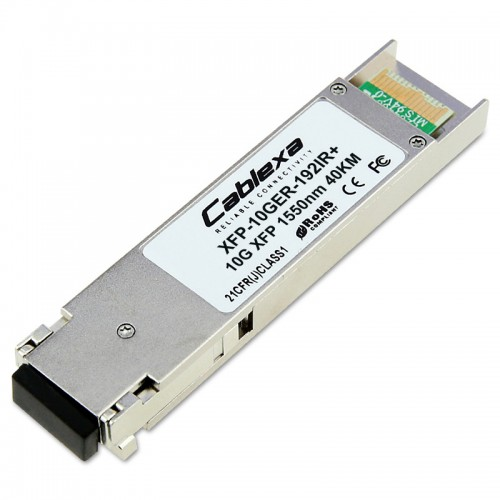 Cisco Compatible XFP-10GER-192IR+ Multirate XFP transceiver module for 10GBASE-ER Ethernet and OC-192/STM-64 intermediate-reach (IR-2) Packet-over-SONET/SDH (POS) applications, SMF, 1550-nm wavelength, 40km, dual LC connector