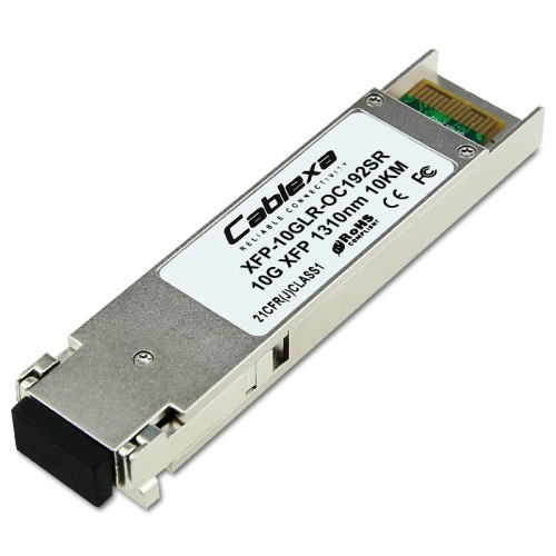 Cisco Compatible XFP-10GLR-OC192SR Multirate XFP transceiver module for 10GBASE-LR Ethernet and OC-192/STM-64 short-reach (SR-1) Packet-over-SONET/SDH (POS) applications, SMF, 1310-nm wavelength, 10km, dual LC connector