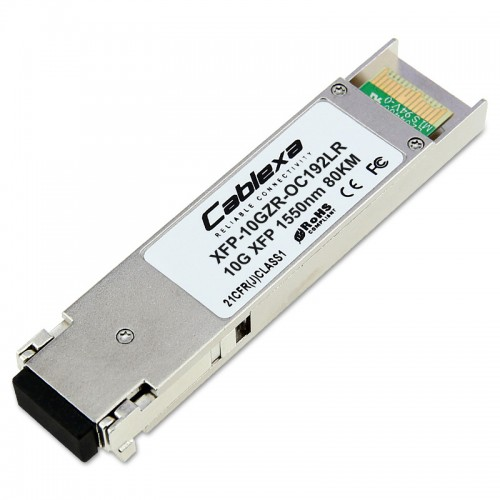 Cisco Compatible XFP-10GZR-OC192LR Multirate XFP transceiver module for 10GBASE-ZR Ethernet and OC-192/STM-64 long-reach Packet-over-SONET/SDH (POS) applications, SMF, 1550-nm wavelength, 80km, dual LC connector
