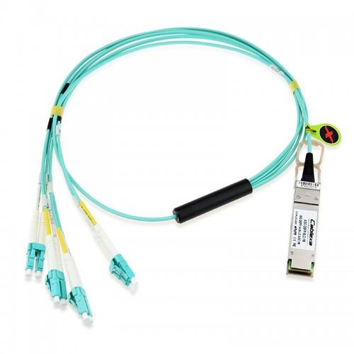 Extreme Compatible 9380014-5M, MPO 8 parallel fiber to 4 x LC duplex connectors, 5m OM3 MM patch cord for use with SR4 QSFP+ (10319)