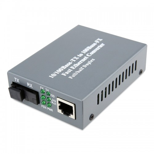 Single Fiber Fast Ethernet Standalone WDM / BiDi Fiber Media Converter, 1-port Fiber & 1-port RJ45, Tx:1310nm/Rx:1550nm, Singlemode, 20km