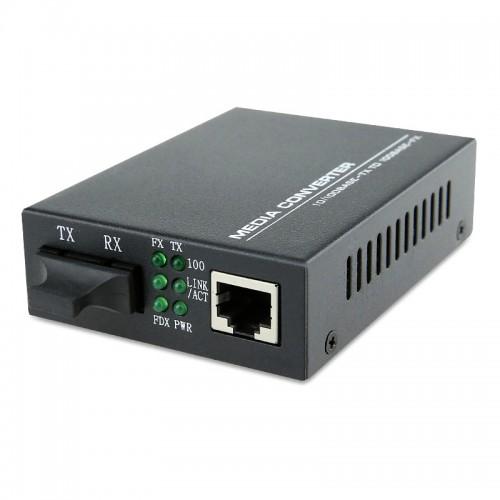 Dual Fiber 10/100Base-TX to 100Base-ZX Fast Ethernet Standalone Fiber Media Converter, 1-port Fiber & 1-port RJ45, 1550nm Singlemode, 120km