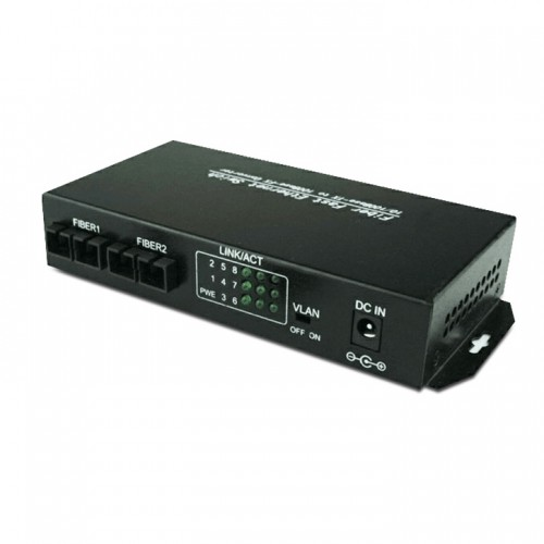 Dual Fiber 10/100Base-TX to 100Base-FX Fast Ethernet Standalone Fiber Media Converter, 2-port Fiber & 8-port RJ45, 1310nm Multimode, 2km