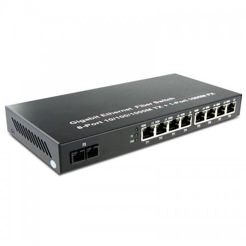 Dual Fiber 10/100/1000Base-TX to 1000Base-LX Gigabit Ethernet Standalone Fiber Media Converter, 1-port Fiber & 8-port RJ45, 1310nm Multimode, 2km