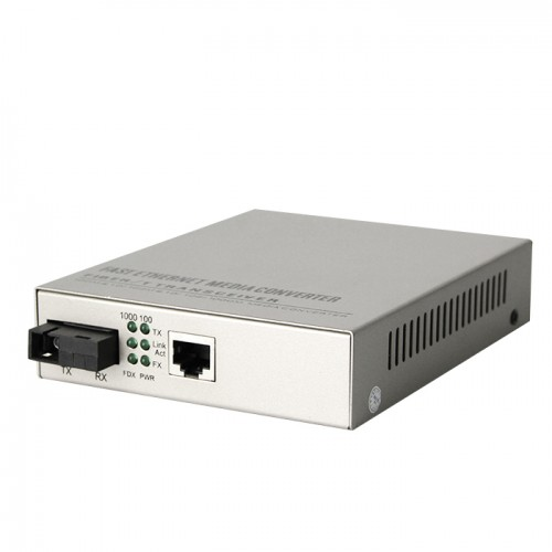 Single Fiber 10/100/1000M Managed Standalone Fiber Media Converter, Built-in Power Supply, 1-port Fiber & 1-port RJ45, Tx:1550nm/Rx:1310nm, Singlemode, 40km