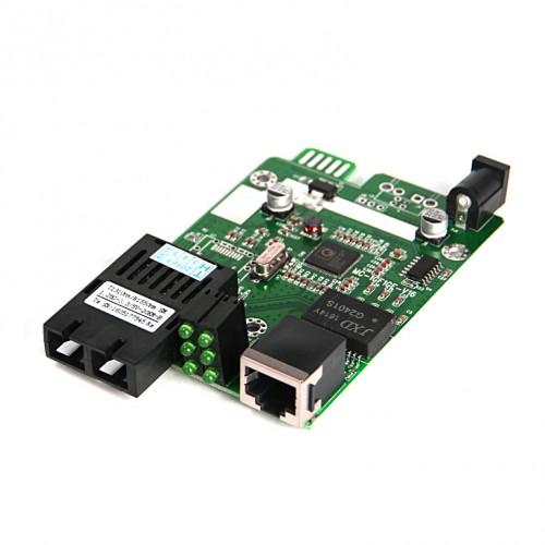 Dual Fiber 10/100/1000M SNMP Managed Fiber Media Converter Module, 1-port Fiber & 1-port RJ45, 1310nm Multimode, 2km