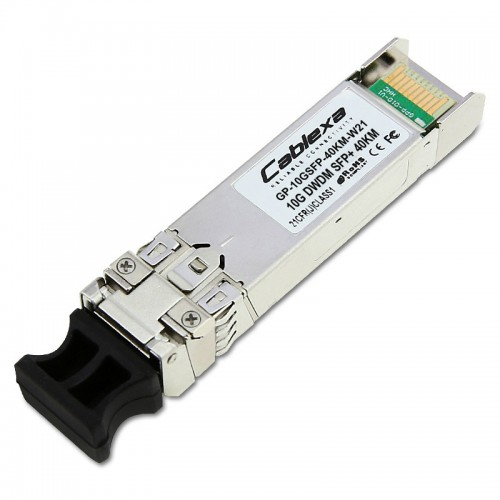 Force10 Compatible GP-10GSFP-40KM-W21, DWDM 10 Gigabit Ethernet SFP+ optics module, LC connector (1560.61 nm, 100 GHz ITU grid, C-Band, Channel 21)