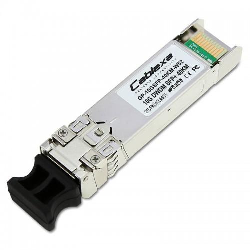 Force10 Compatible GP-10GSFP-40KM-W52, DWDM 10 Gigabit Ethernet SFP+ optics module, LC connector (1535.82 nm, 100 GHz ITU grid, C-Band, Channel 52)