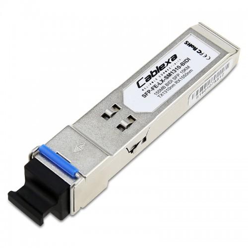 H3C Compatible SFP-FE-LX-SM1310-BIDI, 100BASE-BX-U SFP Transceiver, SMF, TX-1310nm, RX-1550nm, 15km, Simplex LC