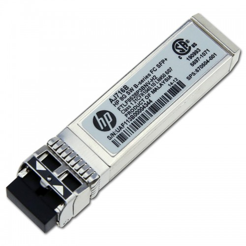New Original HP 8GB SHORTWAVE B-SERIES FIBRE CHANNEL 1 PACK SFP+ TRANSCEIVER, 670504-001, AJ716-63002