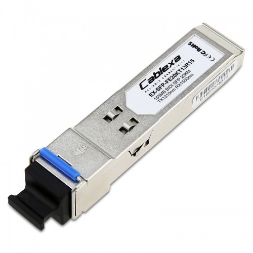 Juniper Compatible EX-SFP-FE20KT13R15, SFP 100BASE-BX, LC connector, TX 1310nm / RX 1550nm, 20km reach on single-strand, single-mode fiber