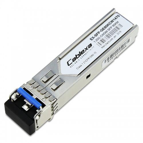 Juniper Compatible EX-SFP-GE80KCW1470, 1000BASE-LX CWDM SFP, Duplex LC, 1470nm, 80km, DOM