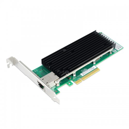 PCIe 10 Gigabit Ethernet Single RJ45 Port Network Interface Card, PCI Express x8 Intel X540 Chipset Server Network Adapter