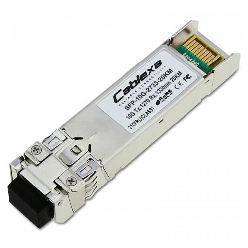 Cablexa SFP+, 10Gb/s, BiDi, 10GBase-BX, SMF, Tx1270nm/Rx1330nm, Simplex LC, 20KM Transceiver Module