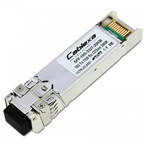 Cablexa SFP+, 10Gb/s, BiDi, 10GBase-BX, SMF, Tx1330nm/Rx1270nm, Simplex LC, 20KM Transceiver Module