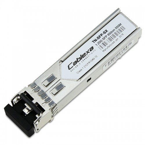 Transition Networks TN-SFP-SX, 1000Base-SX 850nm multimode (LC) [62.5/125 μm: 220 m/722 ft.] [50/125 μm: 550 m/1804 ft.] Link Budget: 8.0 dB